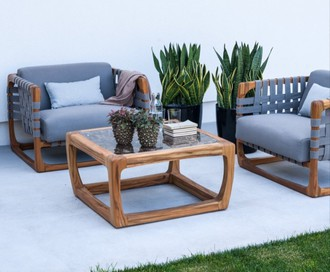 Square Teak And Dark Emperador Marble Coffee Table Bungalow